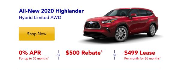 New 2020 Highlander Hybrid Special